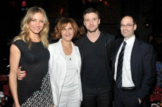 Actress Cameron Diaz, Sony Pictures Entertainment Co-Chairmain Amy Pascal, actor/singer Justin Timberlake, and Columbia Pictures President Doug Belgrad attend the after party for the premiere of Bad Teacher.
