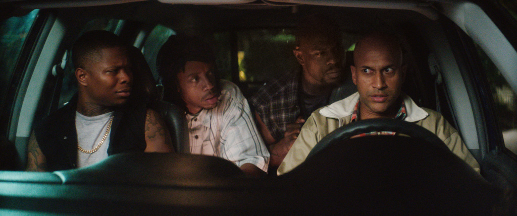 """(L-r) JASON MITCHELL as Bud, DARRELL BRITT-GIBSON as Trunk, Jamar Malachi Neighbors as Stitches and KEEGAN-MICHAEL KEY as Clarence in New Line Cinema's action comedy """"KEANU,"""" a Warner Bros. Pictures release. Courtesy of Warner Bros. Pictures"""