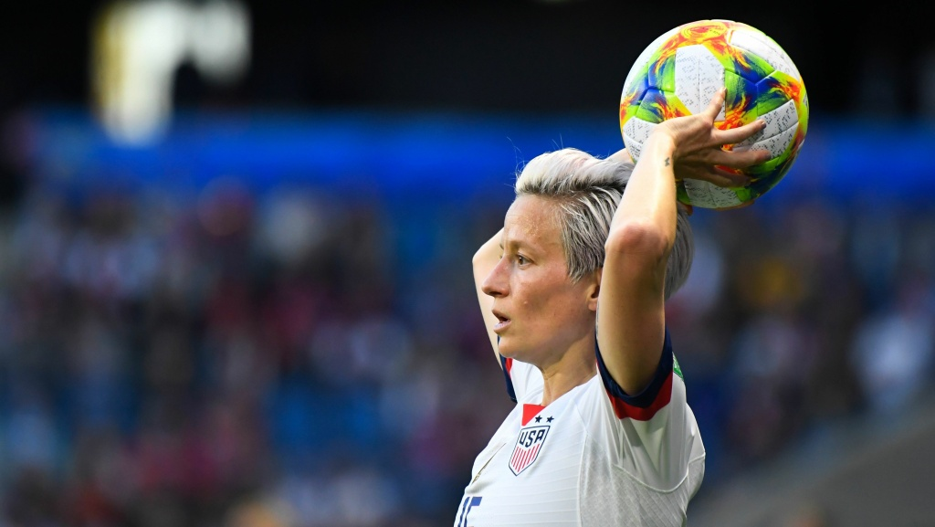 U.S. forward Megan Rapinoe throws the ball from the touch line during last week's World Cup match against Sweden.
