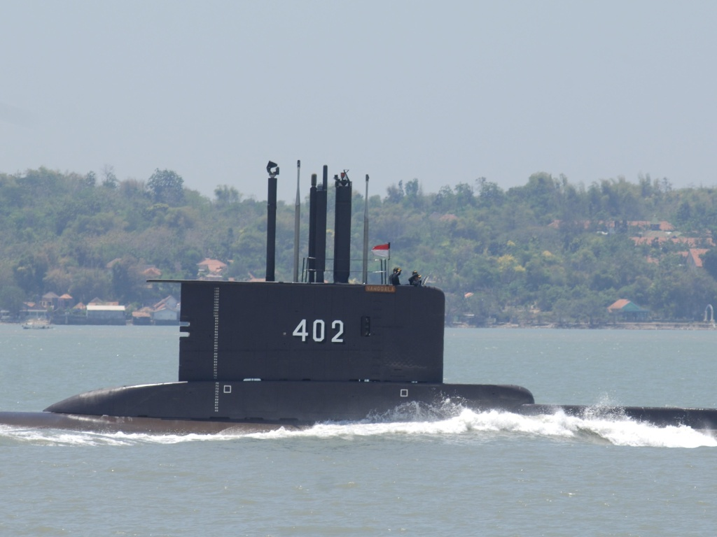 Indonesian submarine KRI Nanggala-402 shown during preparation for an anniversary celebration of the Indonesia military in Surabaya, East Java, in 2014.