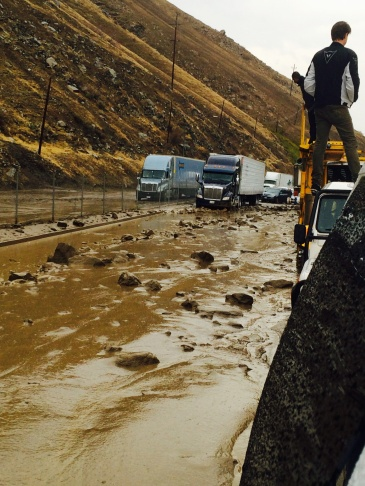 Mudslide in Cajon Pass, shut by a member of the band Timeshares stuck on I-5 on Thursday, Oct. 15, 2015.