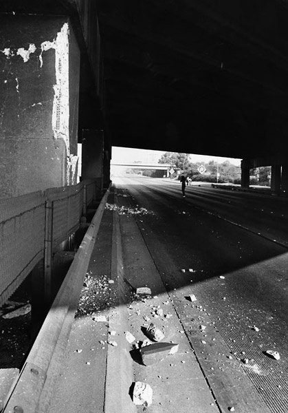 Debris from a freeway overpass, 1987