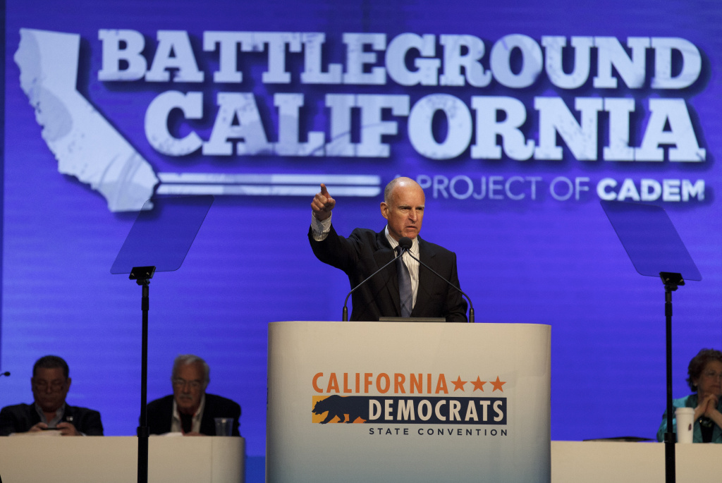 California Gov. Jerry Brown speaks during the California Democrats Convention on Saturday in San Diego. The party's annual convention runs through Feb. 12.