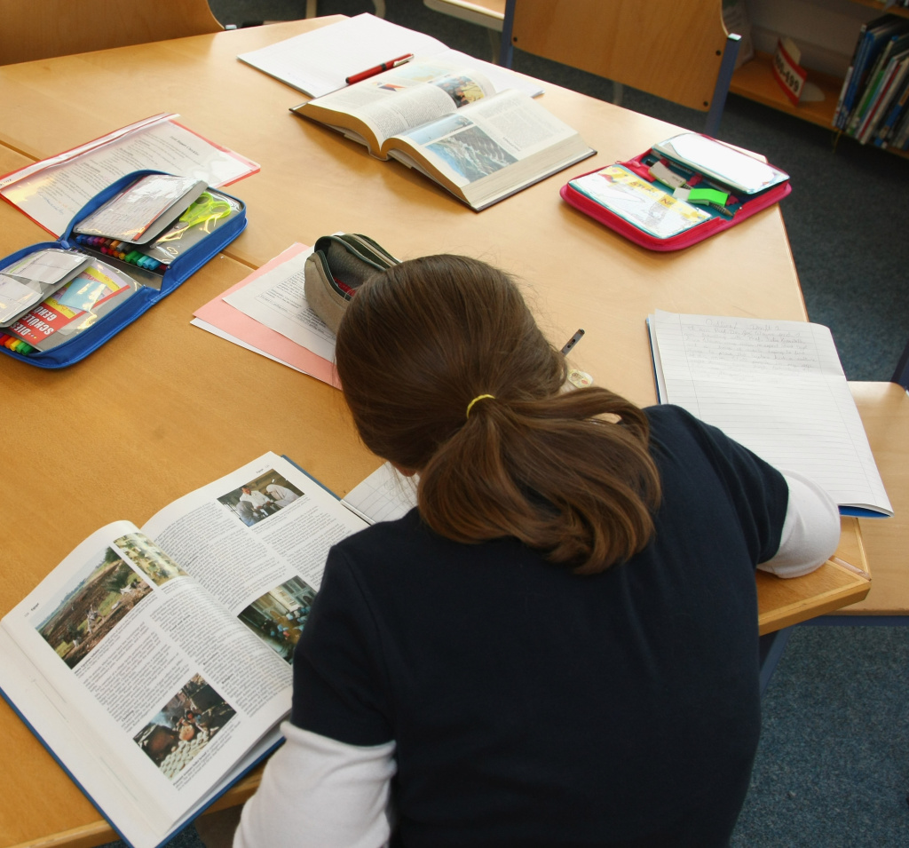 A fourth-grade student works on homework in the elementary school at the John F. Kennedy Schule dual-language public school on September 18, 2008 in Berlin, Germany.