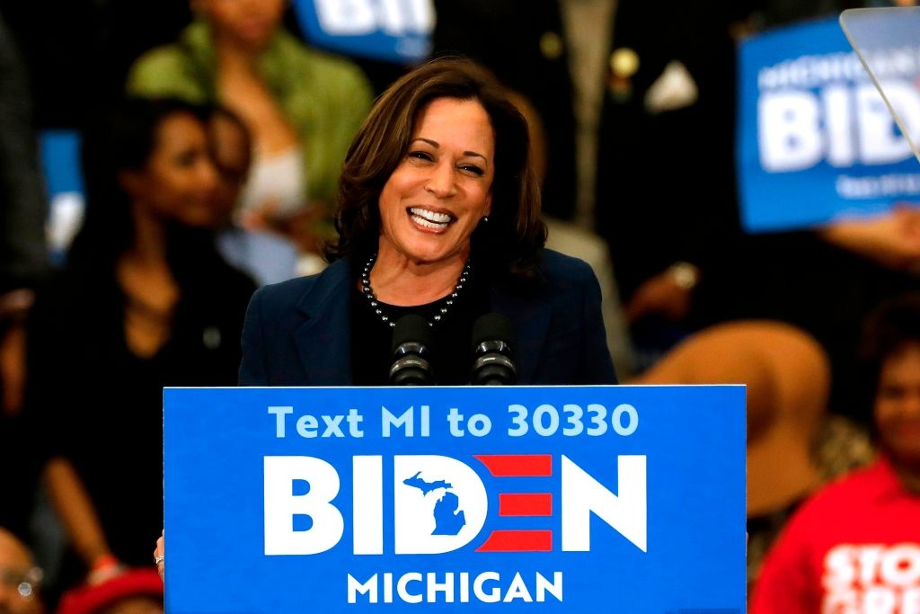 California Senator Kamala Harris endorses Democratic presidential candidate former Vice President Joe Biden as she speaks to supporters during a campaign rally at Renaissance High School in Detroit, Michigan on March 9, 2020.