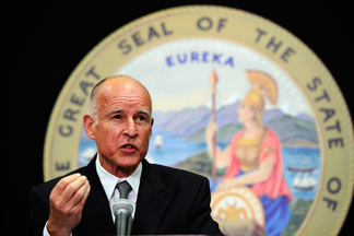 California Attorney General Jerry Brown speaks during a news conference on July 26, 2010 in Los Angeles, California. Brown, who is also the democratic gubernatorial candidate, said his office has issued subpoenas for hundreds of employment, salary and other records from the city of Bell, as part of an investigation into the hefty salaries being paid to top administrators and elected officials.