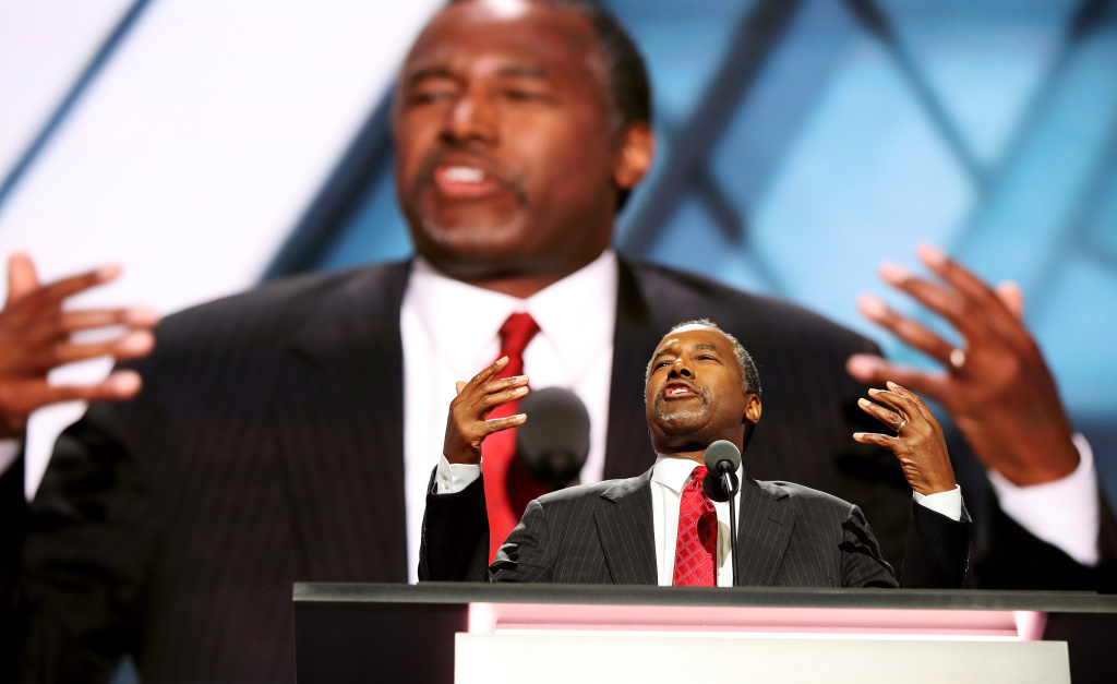 Former Republican presidential candidate Ben Carson delivers a speech on the second day of the Republican National Convention on July 19, 2016 at the Quicken Loans Arena in Cleveland, Ohio.