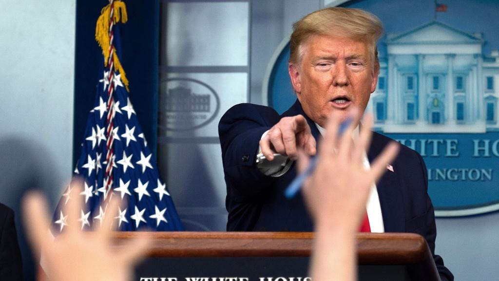 President Trump speaks during the daily briefing on the novel coronavirus this week.