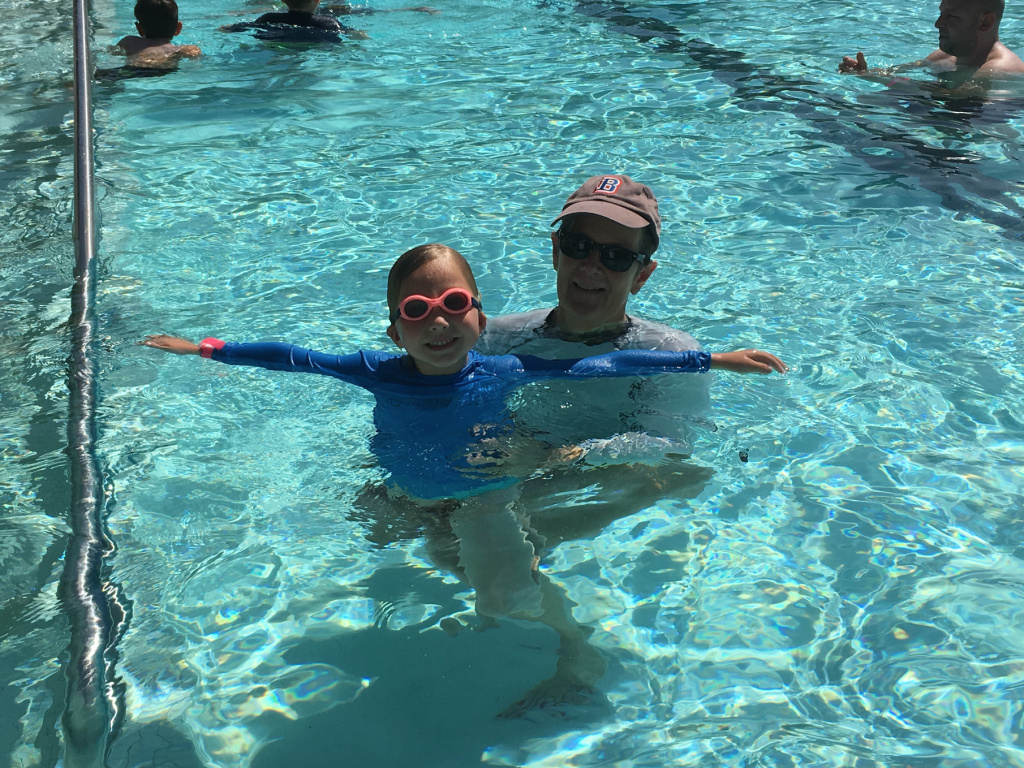 Five-year-old Jane Holmes joined her grandmother Mary Fauvre Holmes of Pasadena at the Rose Bowl Aquatics Center on Monday, April 9, 2018. Jane was visiting from Sunnyvale, California.