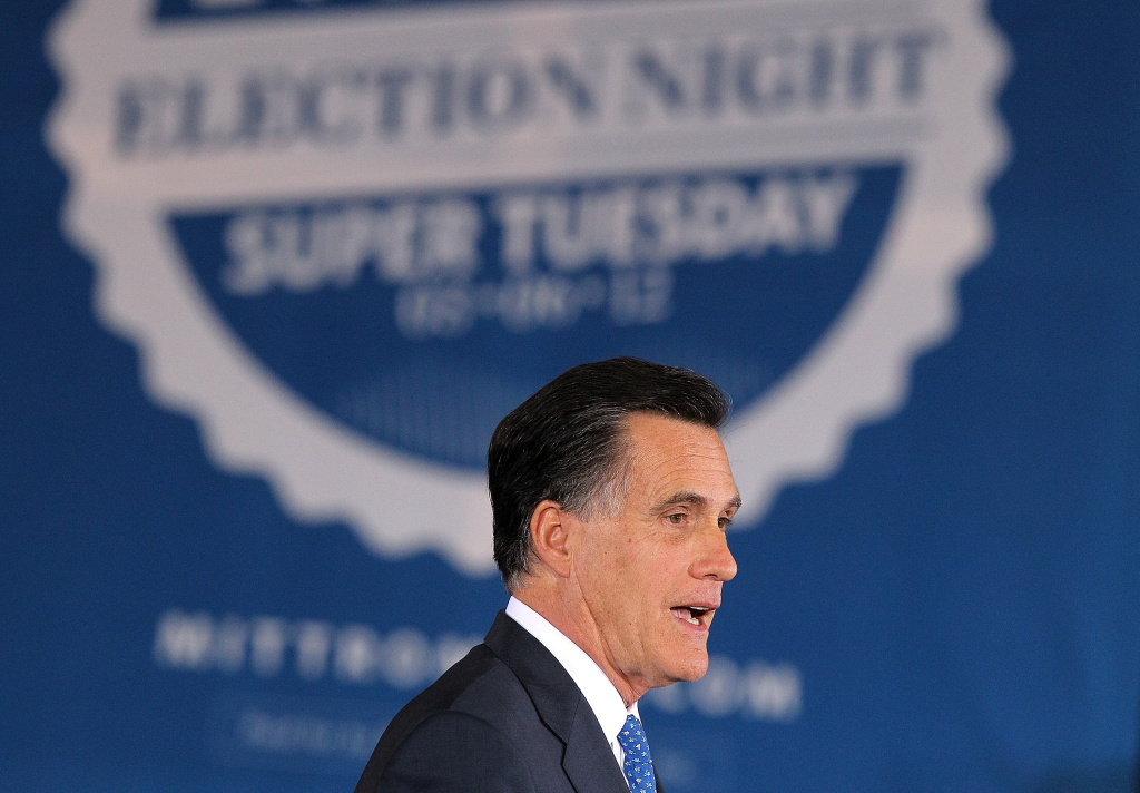 Republican presidential candidate, former Massachusetts Gov. Mitt Romney, speaks at a Super Tuesday night gathering with his family in Boston, Massachusetts. Romney celebrated Super Tuesday wins in six of 10 states holding a Primary.