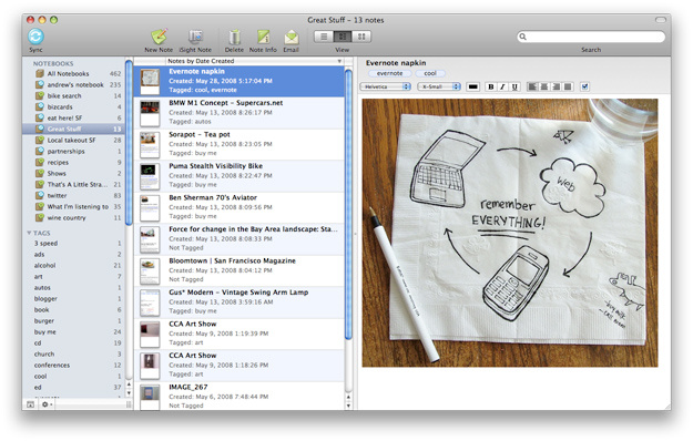Screenshot of the note-taking app, Evernote.