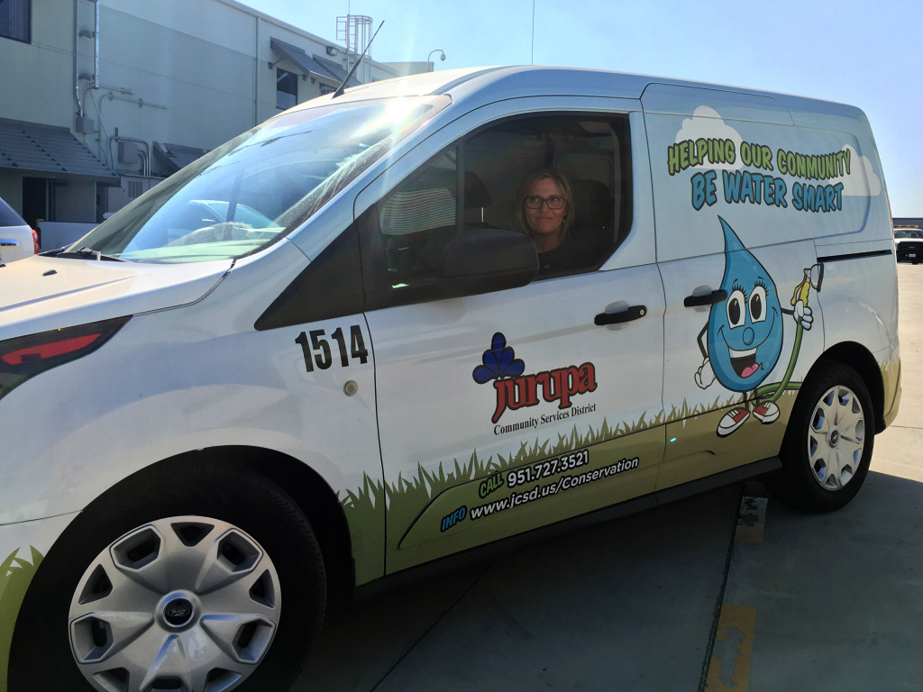 Jurupa Community Service District's Alison Lokeh in the district's van. Lokeh said she could get as many as 100 calls a day during California's drought. But those calls have become less frequent, and water use has risen here and elsewhere.