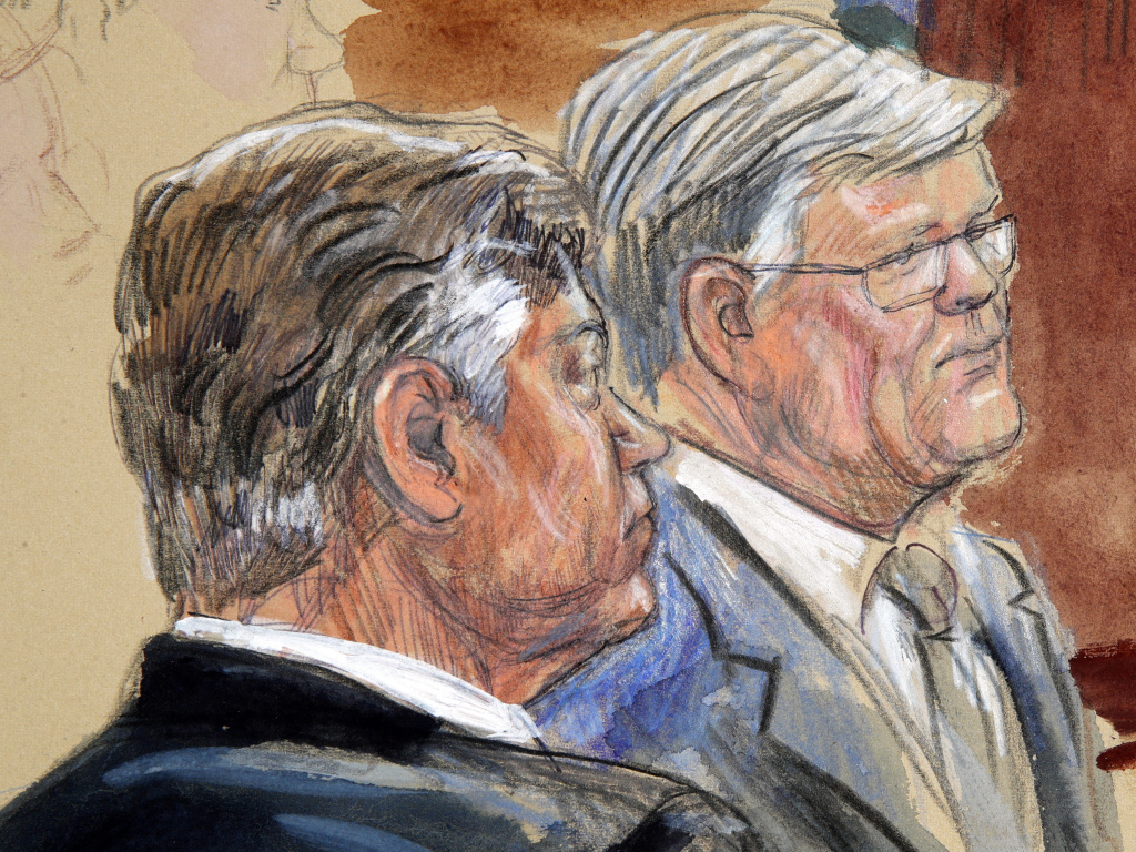 This courtroom sketch depicts former Donald Trump campaign chairman Paul Manafort (left) listening with his lawyer Kevin Downing on Aug 7.