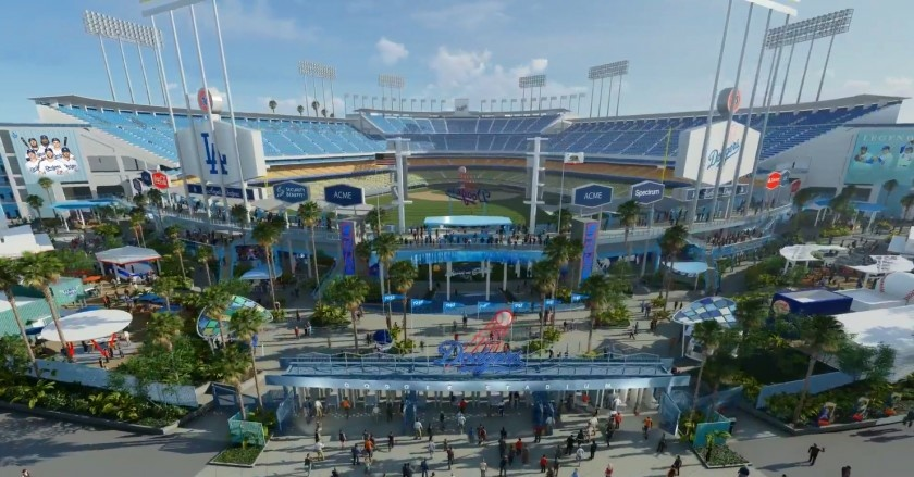 A rendering featuring some of the planned renovations at Dodger Stadium