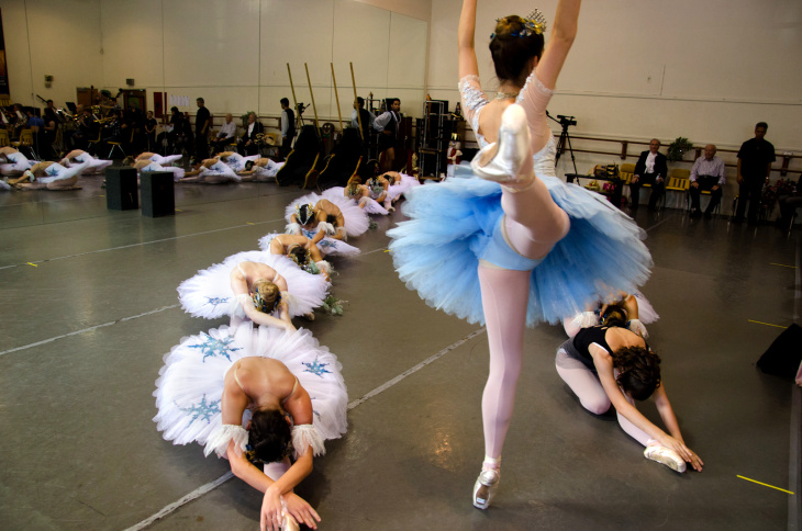 A dancer is lifted into the air during rehersal of The Nutcracker at Anaheim Ballet in Anaheim, Calif., Saturday, Dec. 8, 2012.