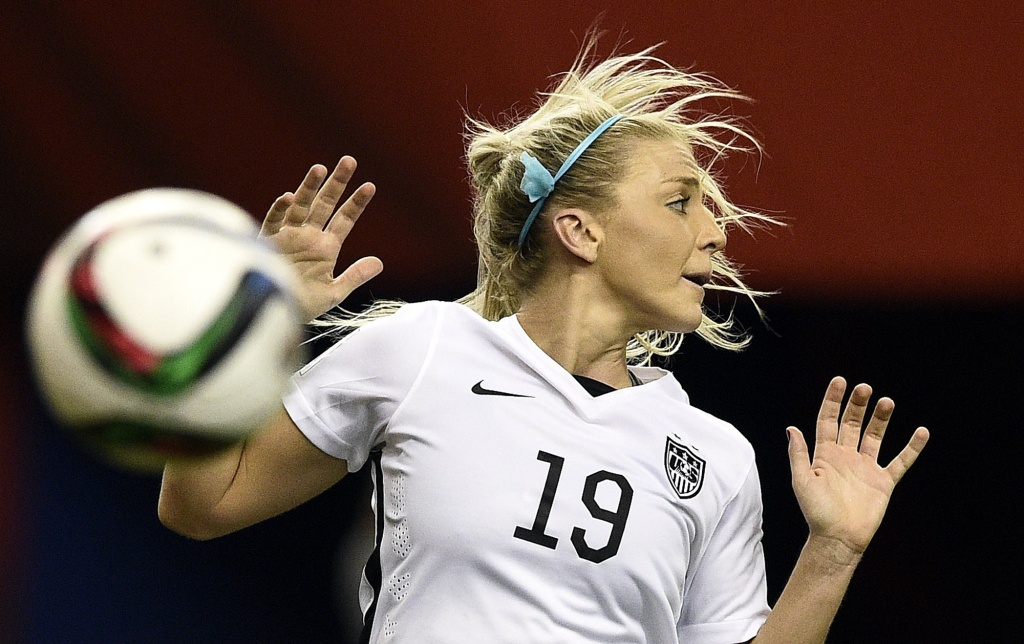 USA defender Julie Johnston reacts to play during the semi-final football match between USA and Germany during their 2015 FIFA Women's World Cup at the Olympic Stadium in Montreal on June 30, 2015. AFP PHOTO / FRANCK FIFE        (Photo credit should read FRANCK FIFE/AFP/Getty Images)