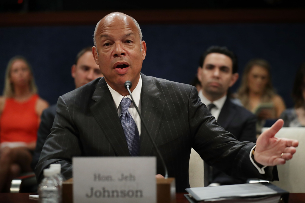 Former Homeland Security Secretary Jeh Johnson testifies before the House Intelligence Committee in an open hearing in the U.S. Capitol Visitors Center June 21, 2017 in Washington, DC.