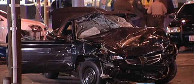 The car that deputies were pursuing that they said crashed into a Lexus, killing a toddler in Lancaster.