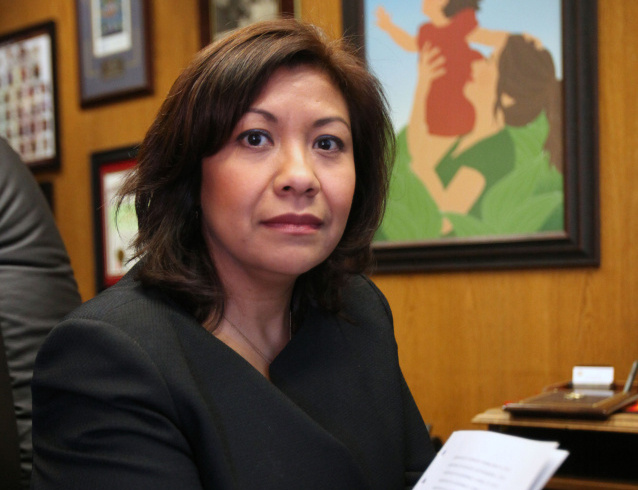 In this Feb. 16, 2012, file photo, Assemblywoman Norma Torres, D-Pomona,  poses in her Capitol office in Sacramento, Calif.  Torres  received 44 percent of the vote in a special election for the 32nd Senate District seat.  She faces Ontario Mayor Paul Leon, a Republican , who received 26 percent, in a May 14 runoff election.