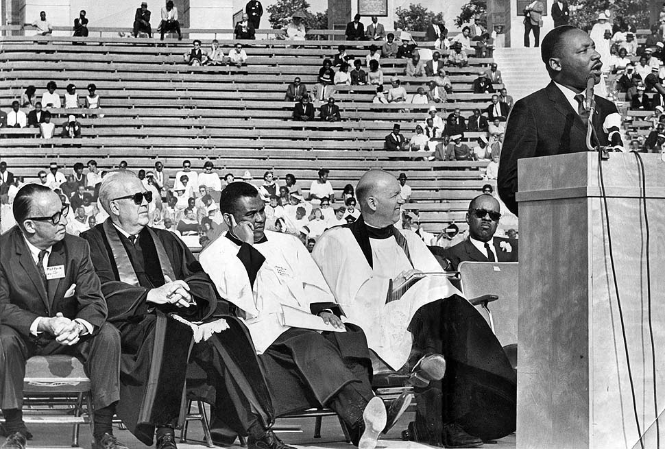 Martin Luther King, Jr. spoke at the L.A. Coliseum in May, 1964 as California was waging a battle over a state fair housing law.