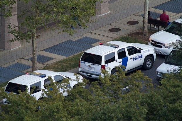 Police outside hostage standoff at Discovery Channel headquarters in Maryland today