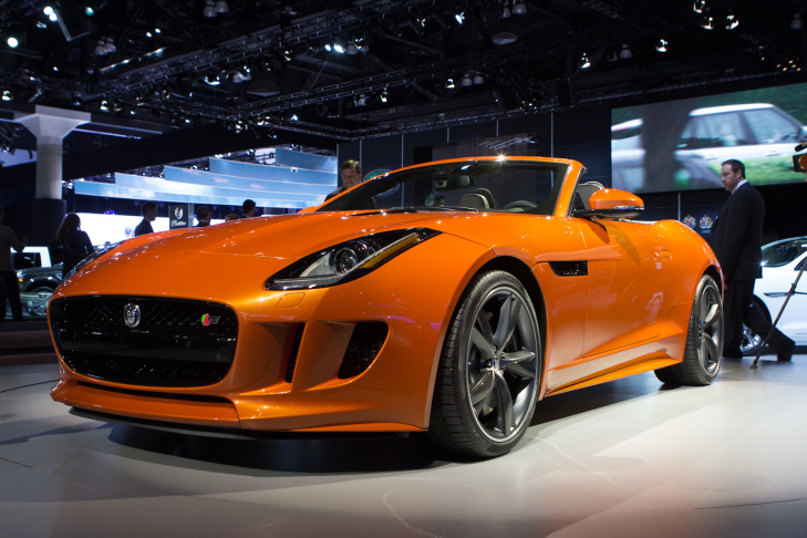 Jaguar F-Type at the LA Auto Show. This beauty will do 0-60 in 4.2 seconds, as long as you spend $92,000 to get the supercharged V8 version.