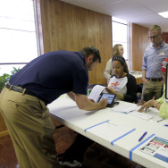 Ohio voters go to the polls for the Ohio primary March 15, 2016 at St. Andrews Episcopal Church in Cincinnati, Ohio.