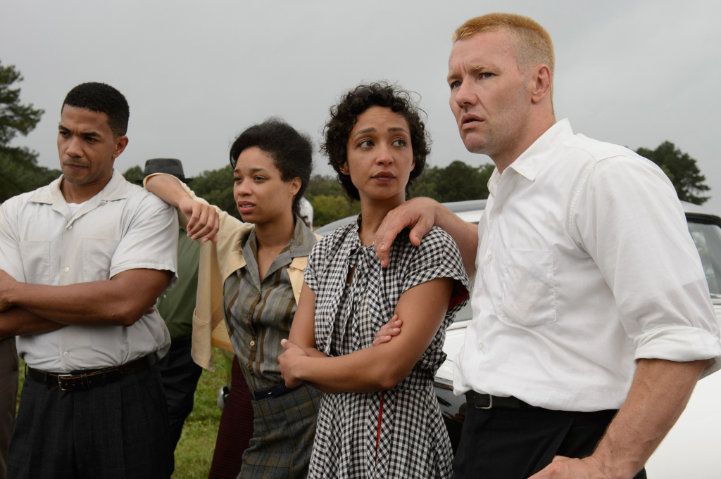 Ruth Negga (second from right) and Joel Edgerton (right) on the set of