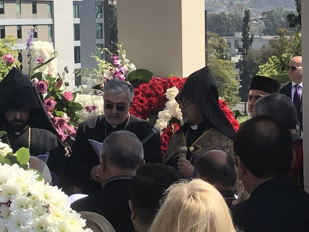 Armenian Church leaders lead a prayer vigil at Armenian Genocide Martyrs Memorial Monument in Montebello on April 24, 2019.