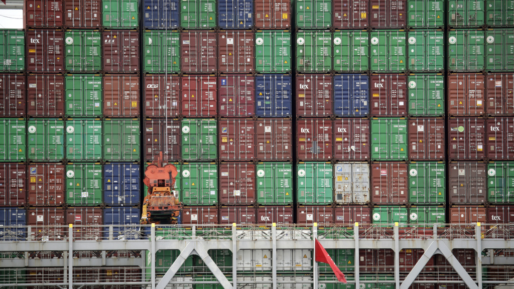 Cargo containers are stacked on a ship at California's Port of Los Angeles.