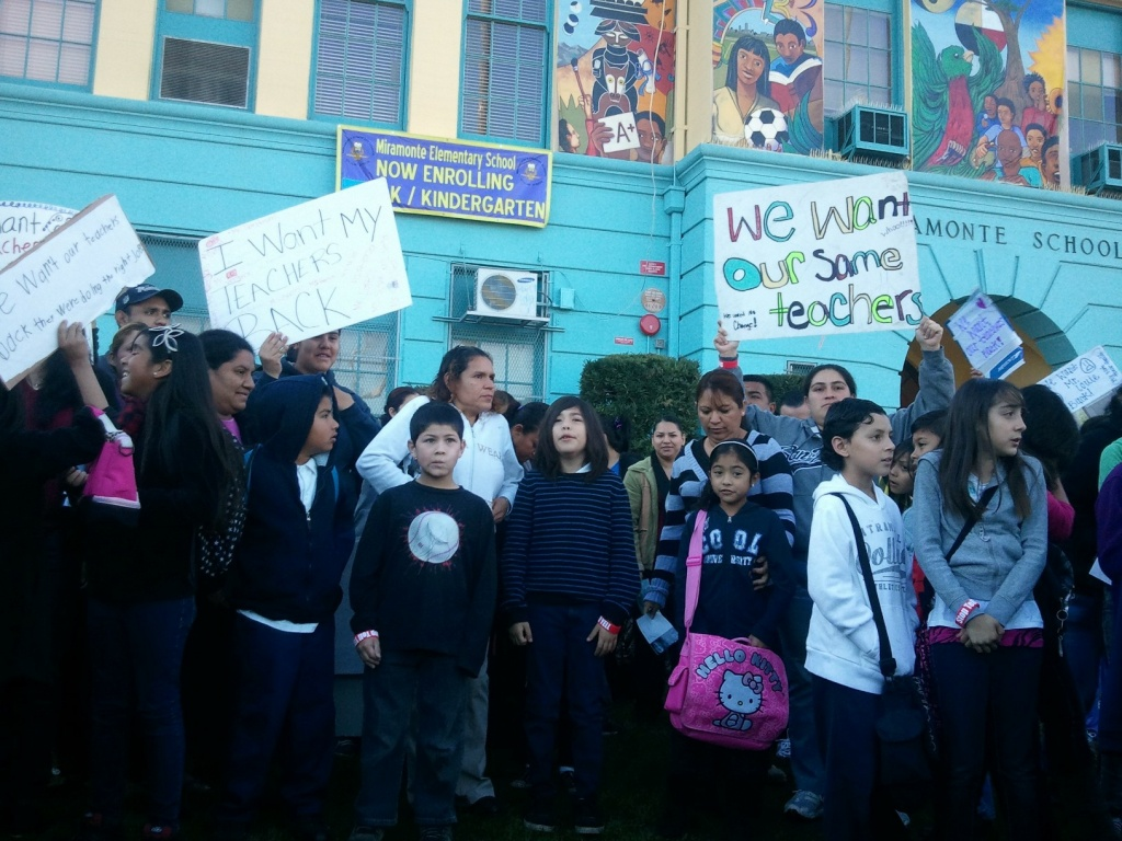 Miramonte Elementary students and parents protest outside their school.
