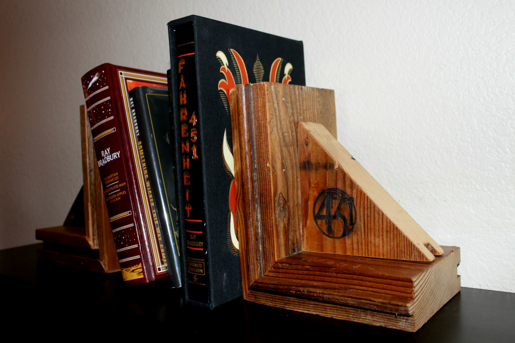 Bookends made from wood salvaged from Ray Bradbury's Cheviot Hills home by The ReUse People.