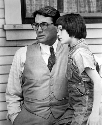 "Gregory Peck and Mary Badham in ""To Kill a Mockingbird."""