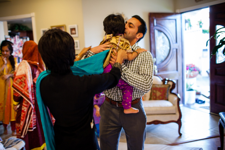 Sajid Mohamedy and Kiran Hashmi pray in the living room of their Silver Lake apartment on the first night of this year's Ramadan celebration. Since July 19th, like Muslims across the world, the young Pakistani American couple have been fasting from dawn until dusk every day.