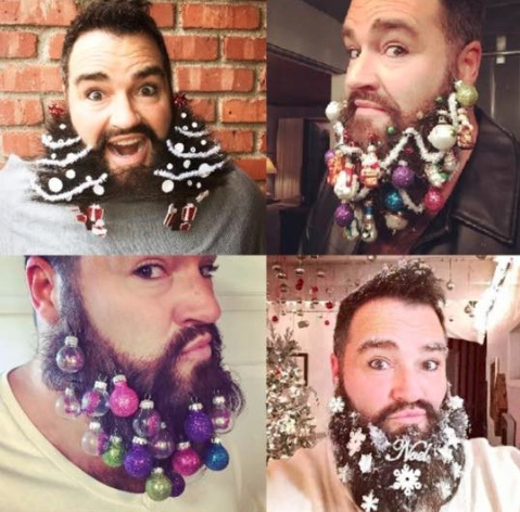 dean banowetz known as the hollywood hair guy shows off a decorated beard for - Christmas Beard