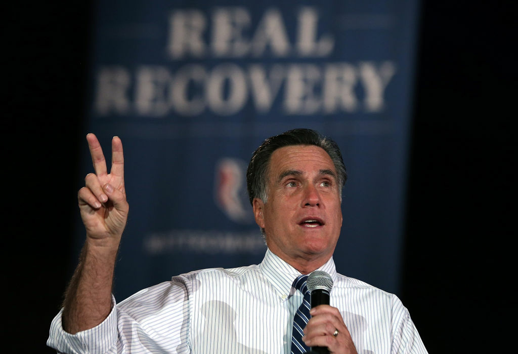 Republican presidential candidate, former Massachusetts Gov. Mitt Romney speaks during a campaign rally at the Red Rocks Amphitheatre on October 23, 2012 in Morrison, Colorado. A day after the final Presidential debate, Mitt Romney is campaigning in Nevada and Colorado.