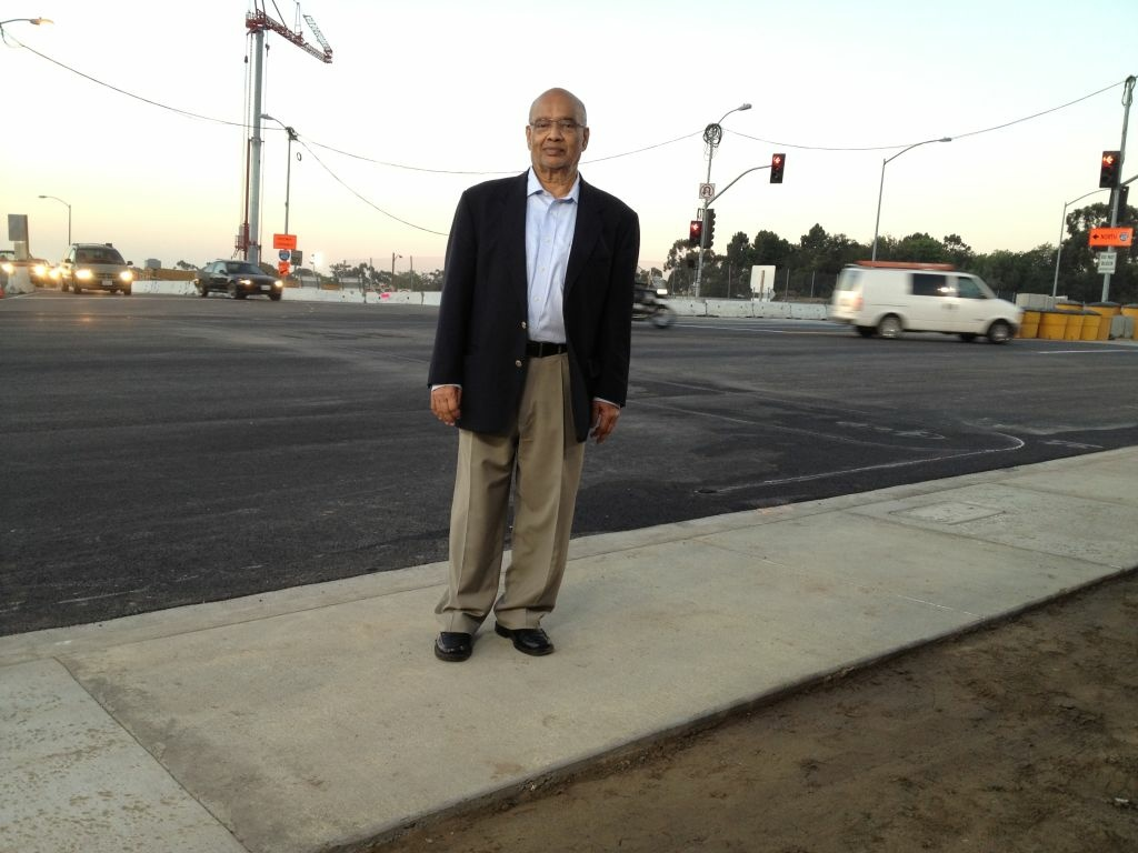 K.N. Murthy, the Executive Director of Transit Projects for the Los Angeles County Metropolitan Transportation Authority on the Sunset Boulevard Bridge 30 minutes after its reopening.