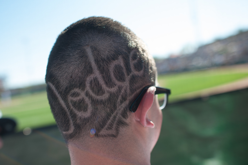 A Dodger fan with an etched Dodger logo on the back of his head watching the game between the Los Angeles Dodgers and the Chicago White Sox at Camelback Ranch on February 23, 2013 in Glendale, Arizona.