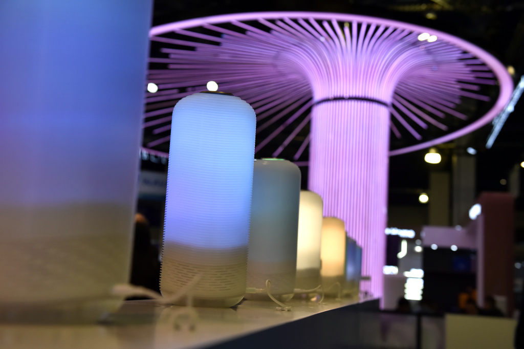 Smart lamps by Auri are displayed at CES 2019 at the Las Vegas Convention Center on January 8, 2019 in Las Vegas, Nevada