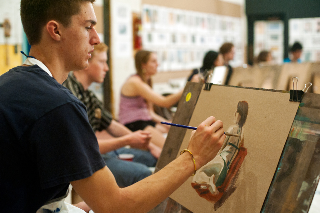 Students participate in a figure drawing class during the four-week California State Summer School for the Arts program at Cal Arts.