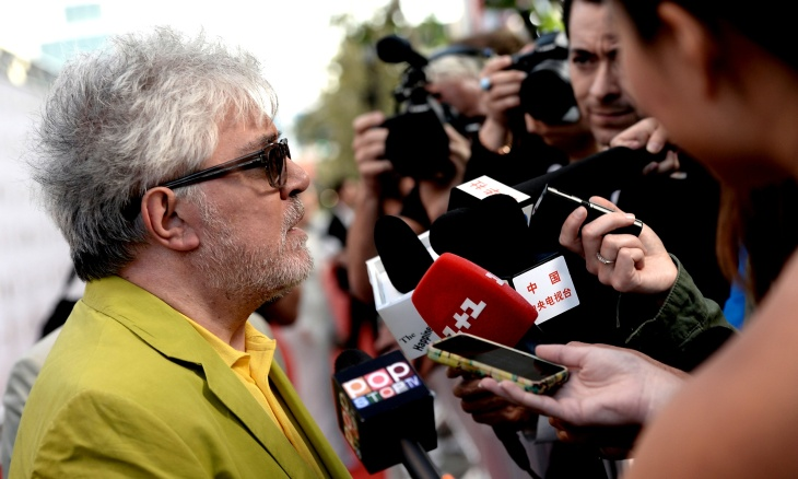 "Filmmaker Pedro Almodovar arrives at the premiere of Sony Pictures Classics ""I'm So Excited!"" during the 2013 Los Angeles Film Festival"