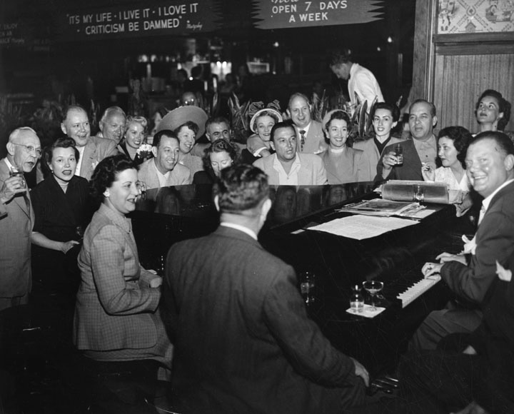 An undated photo of a rocking piano bar in Los Angeles. This is how to do it.