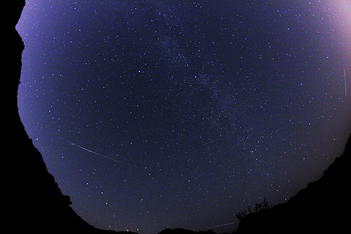 A photo of the Perseid meteor shower at Azusa Canyon in 2010.