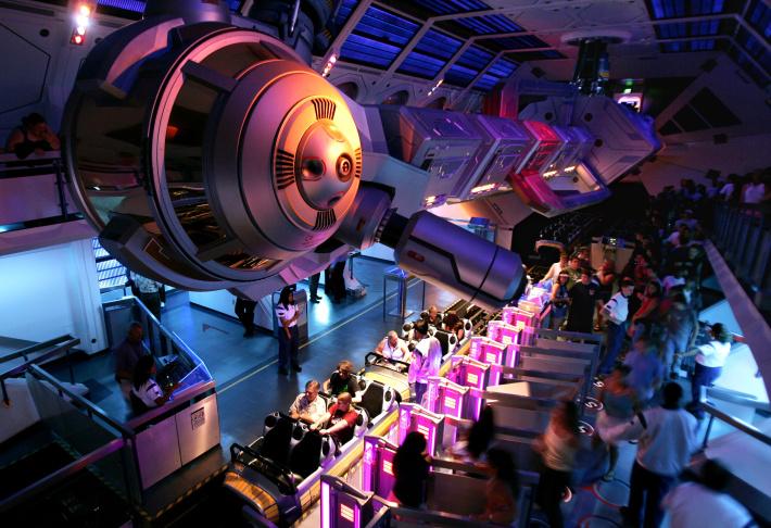 Guests line up to ride Disneyland's
