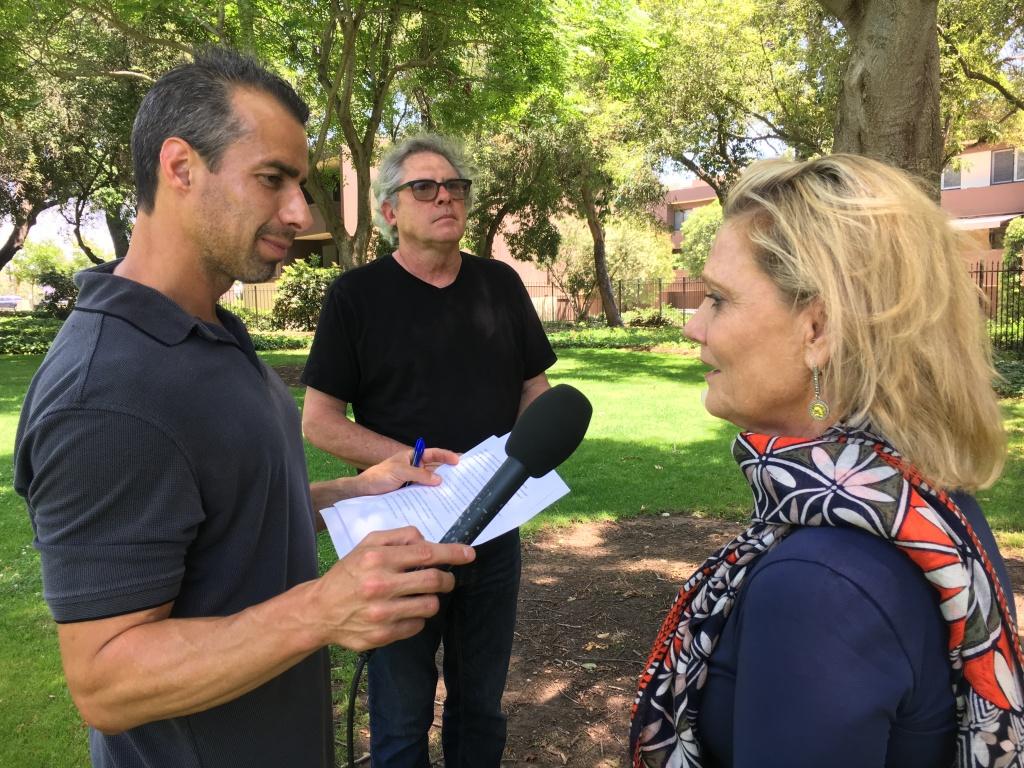 A Martinez interviews Gold Star Mother Jaynie Studenmund. Also pictured: Chris Slatoff