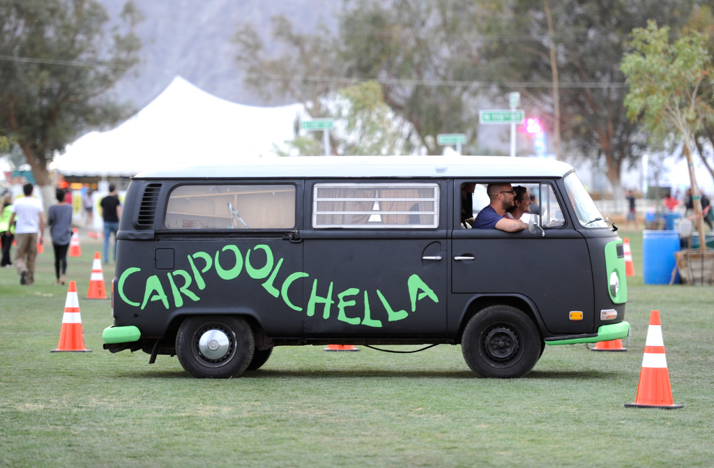 File: VW Bus drives into Coachella Valley Music & Arts Festival 2012 held at the Empire Polo Club on April 12, 2012 in Indio, California.