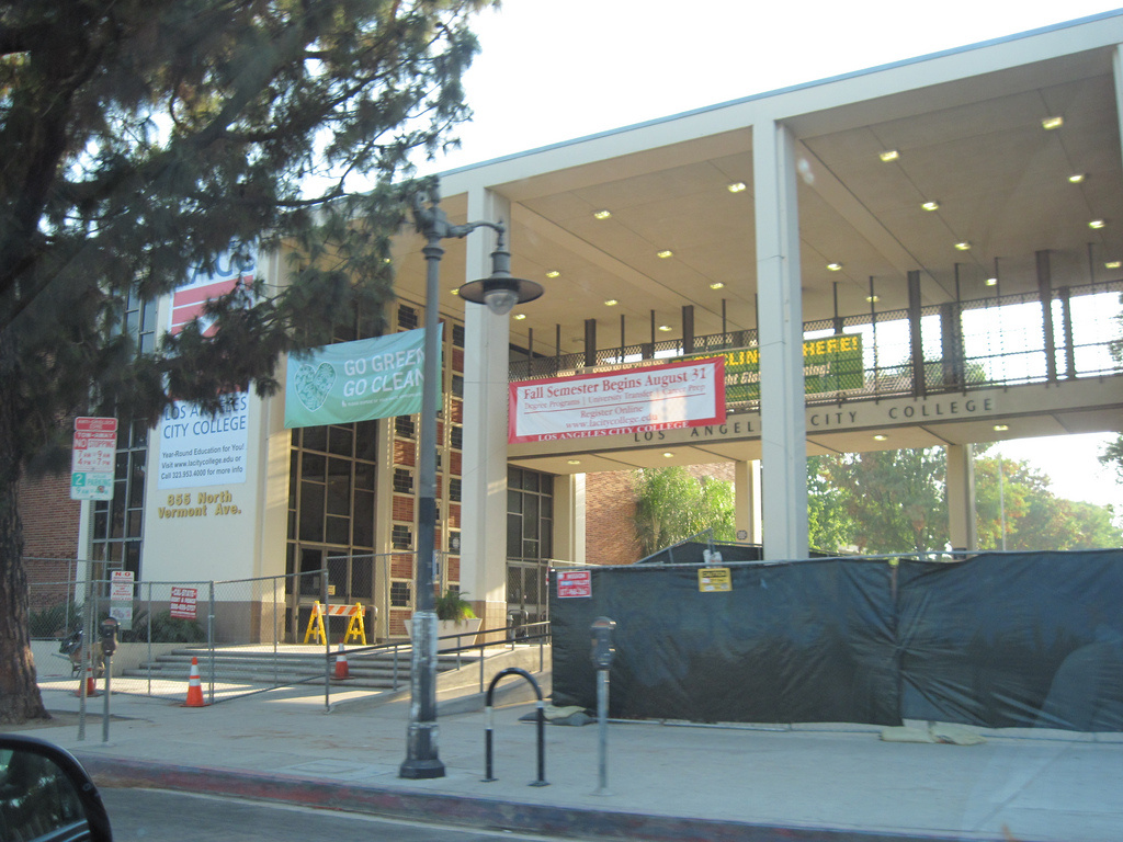 An image of Los Angeles City College under construction.