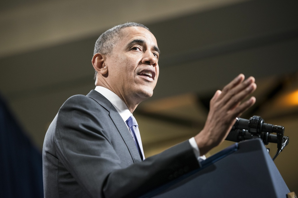 US President Barack Obama speaks during the Democratic Issues Conference February 14, 2014 in Cambridge, Maryland. Obama spoke about goals for Democrats in the US Congress for the coming year.