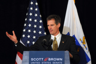 U.S. Republican Senate-elect Scott Brown from Massachusetts addresses the media January 20, 2010 at the Park Plaza Hotel in Boston, Massachusetts. Brown, a republican state senator, beat Massachusetts Attorney General Martha Coakley in a special election to fill the seat of late Senator Edward M. Kennedy.