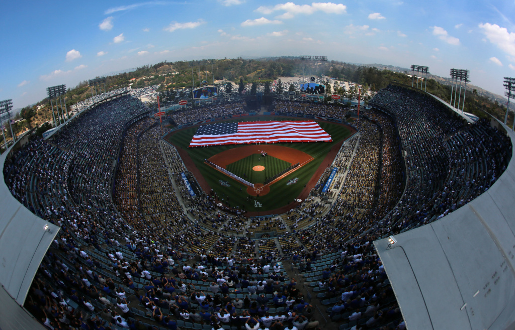 LOS ANGELES, CA - APRIL 12:  A general view of the pre-game ceremony is seen from an elevated perspecive prior to the MLB game between the Arizona Diamondbacks and the Los Angeles Dodgers at Dodger Stadium on April 12, 2016 in Los Angeles, California.  (Photo by Victor Decolongon/Getty Images)